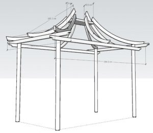 Unique curved pergola 3d drawings