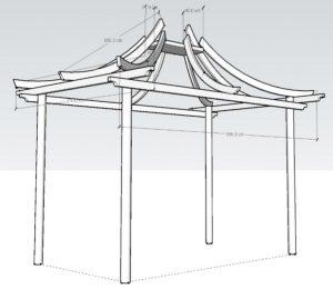 Unique curved pergola 3d drawings