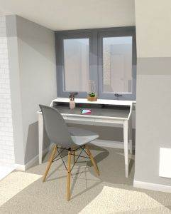 3D Loft Desk Area Design Greenwich